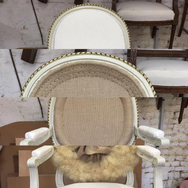 fauteuil louis XVI dossier en médaillon crin animal